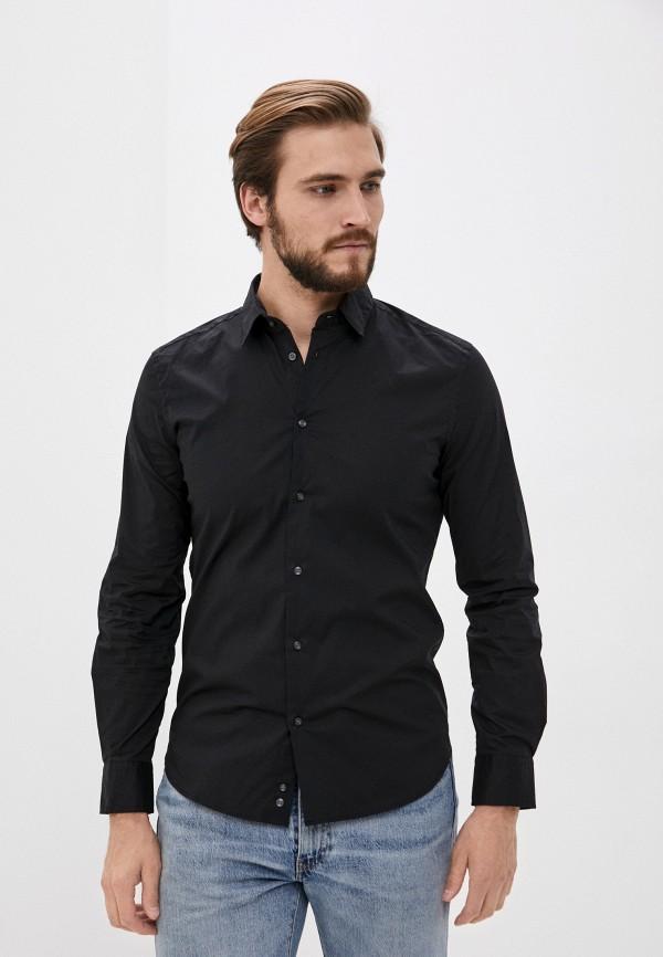 мужская рубашка с длинным рукавом sisley, черная