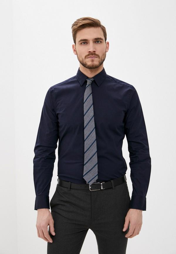 мужская рубашка с длинным рукавом sisley, синяя