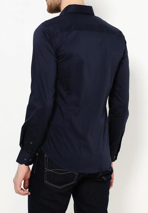 Фото 3 - мужскую рубашку Sisley синего цвета