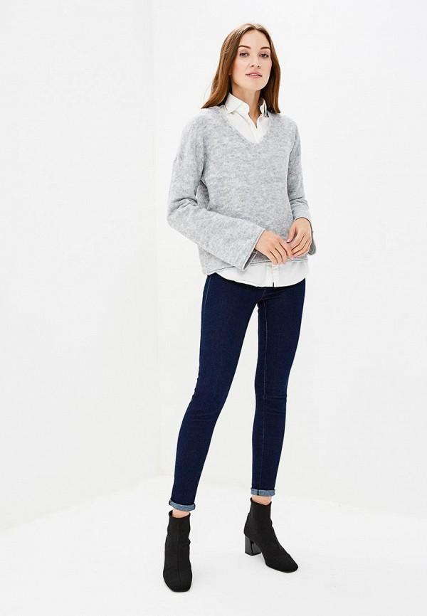 Фото 2 - женский пуловер Sisley серого цвета