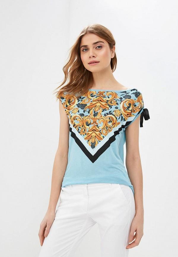 женская футболка sisley, голубая