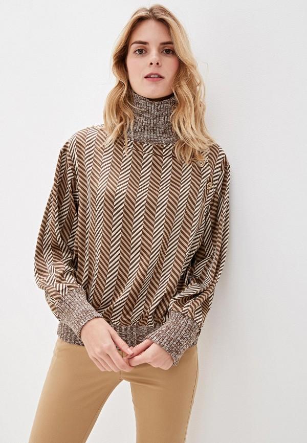женская блузка sisley, коричневая