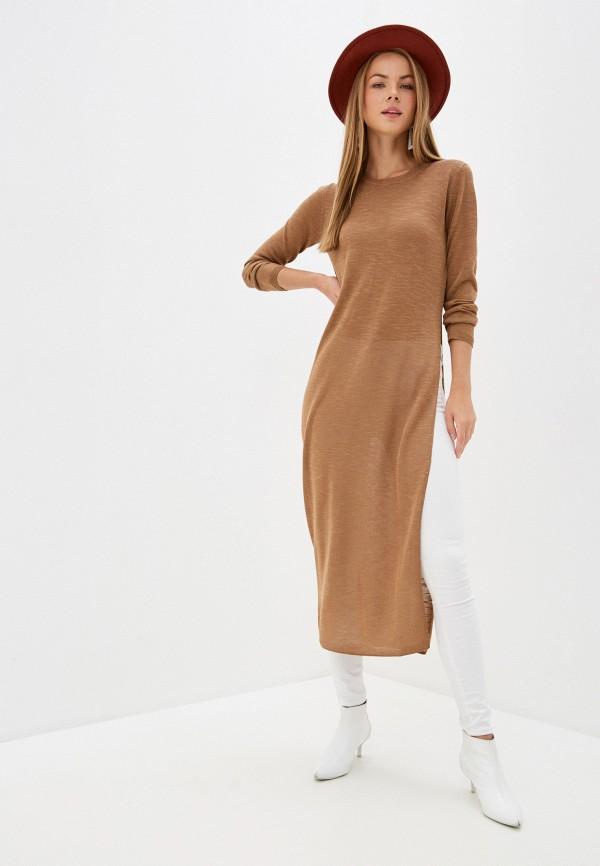 женское платье-свитеры sisley, коричневое