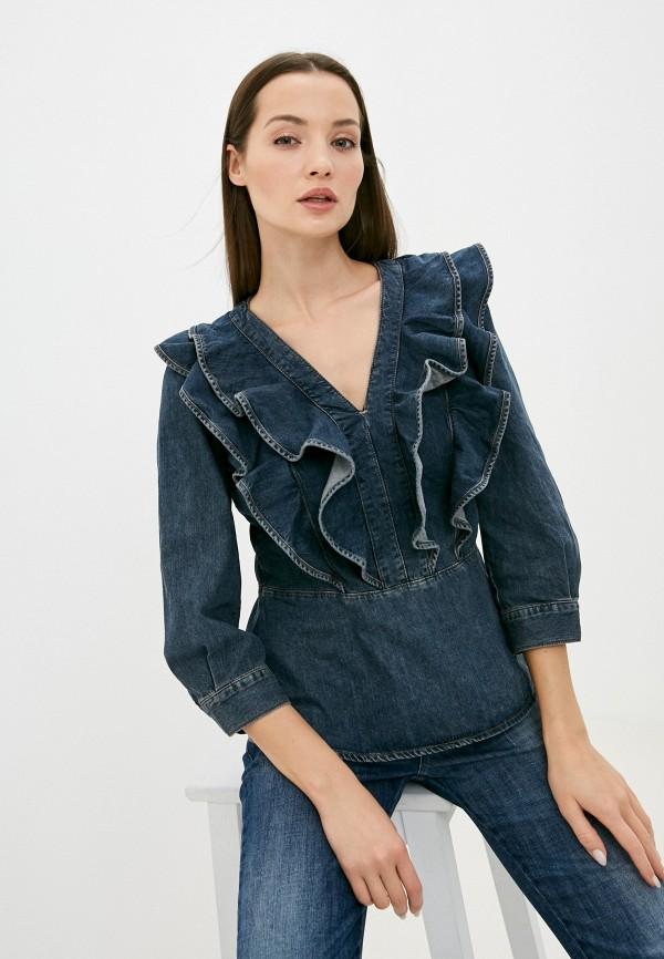 женская блузка sisley, синяя