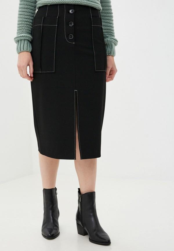 женская прямые юбка sisley, черная