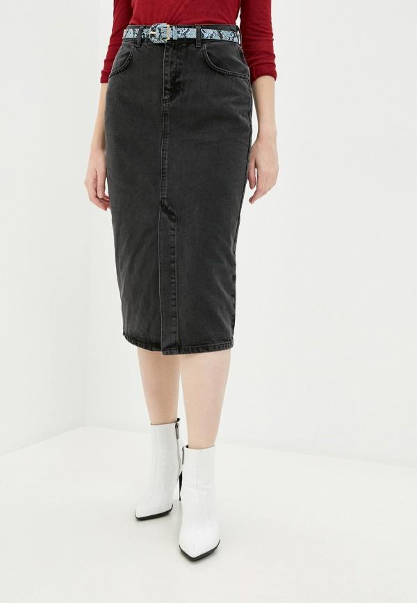 женская джинсовые юбка sisley, черная