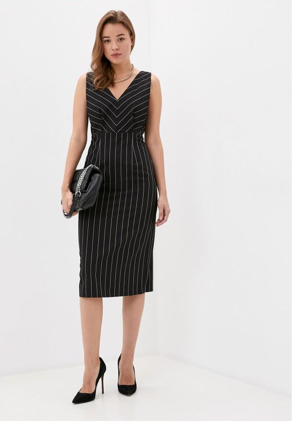 женское платье-футляр sisley, черное
