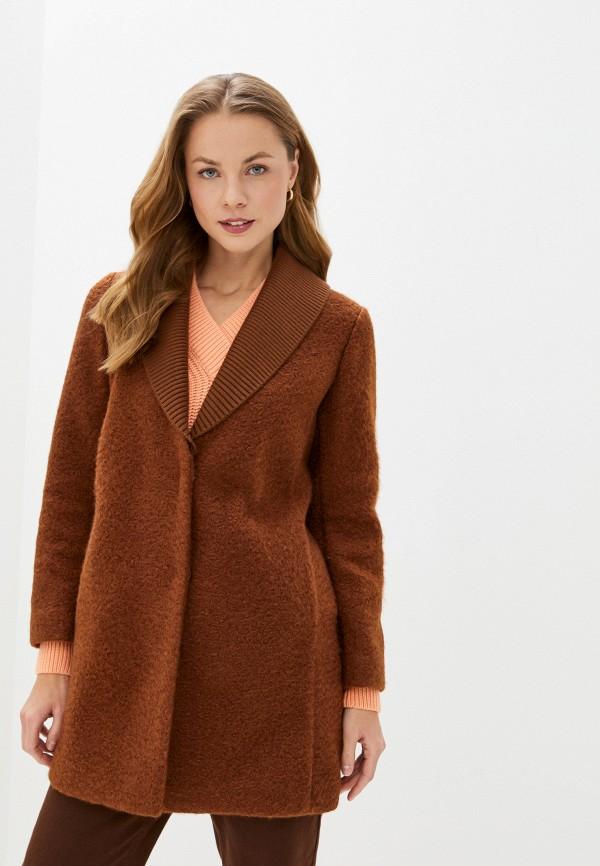 женское пальто sisley, коричневое