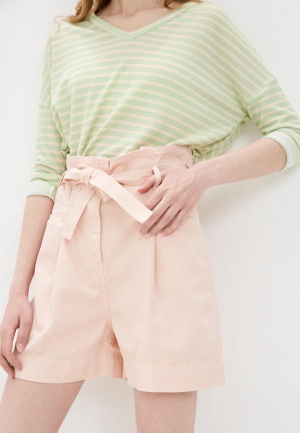 женские джинсовые шорты sisley, розовые