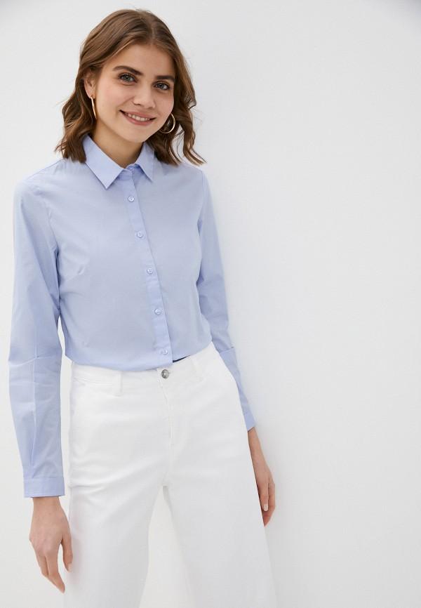 женская рубашка с длинным рукавом sisley, голубая