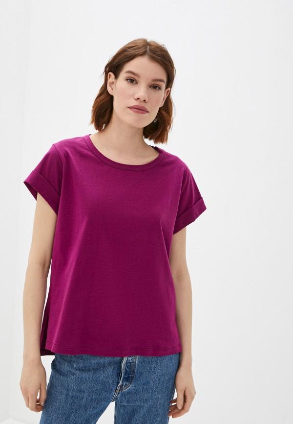 женская футболка sisley, фиолетовая