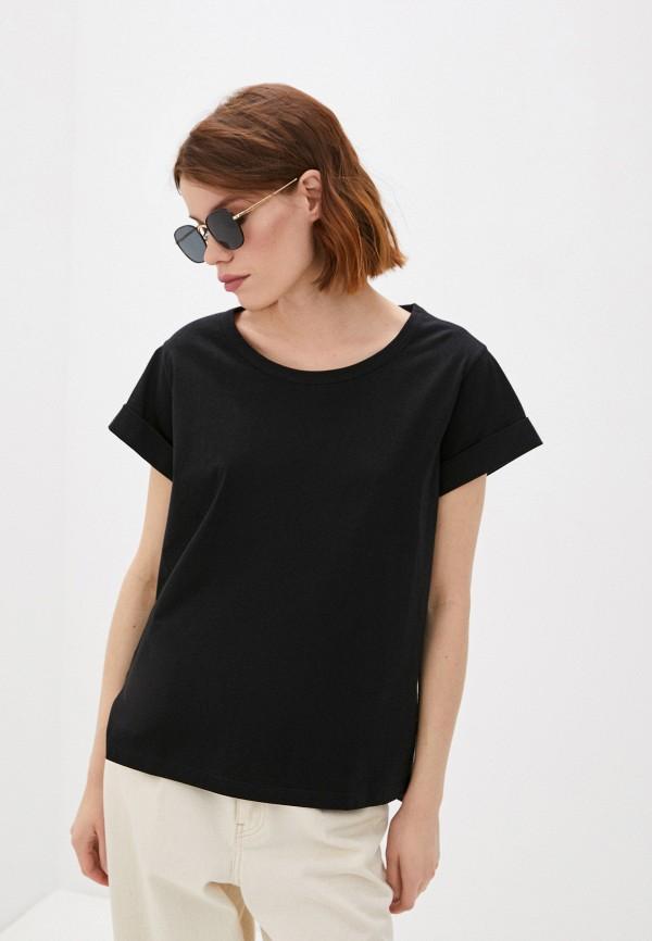 женская футболка sisley, черная