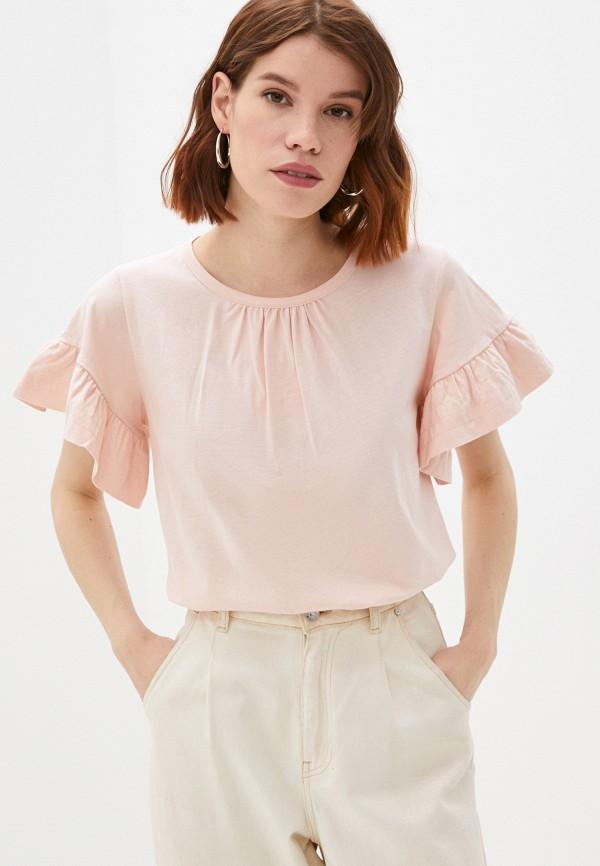 женская футболка sisley, розовая