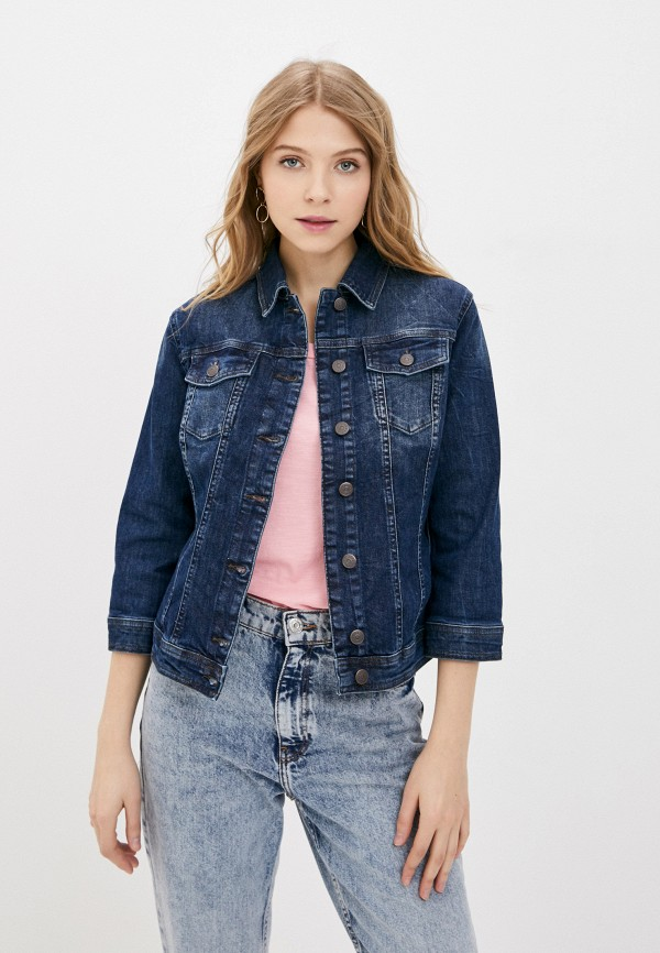 женская джинсовые куртка sisley, синяя