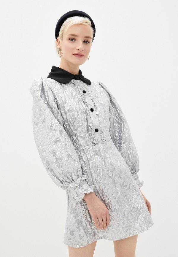 женское вечерние платье sister jane, серебряное