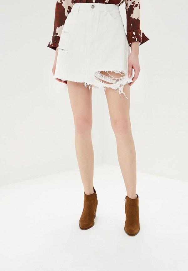 женская джинсовые юбка silvian heach, белая