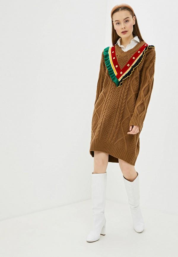 женское платье-свитеры silvian heach, коричневое