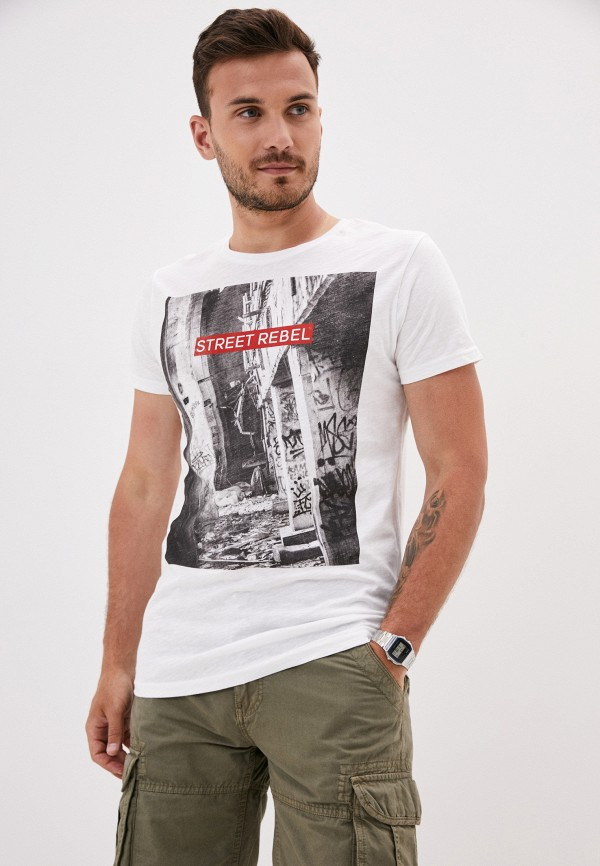 мужская футболка с коротким рукавом sky rebel, белая