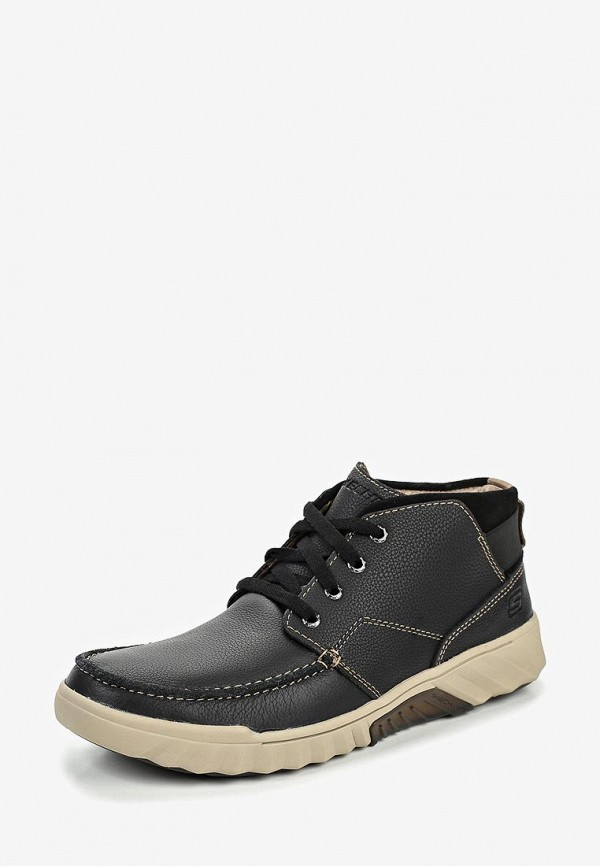 Фото 2 - мужские ботинки и полуботинки Skechers черного цвета