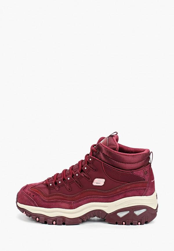 женские высокие ботинки skechers, бордовые