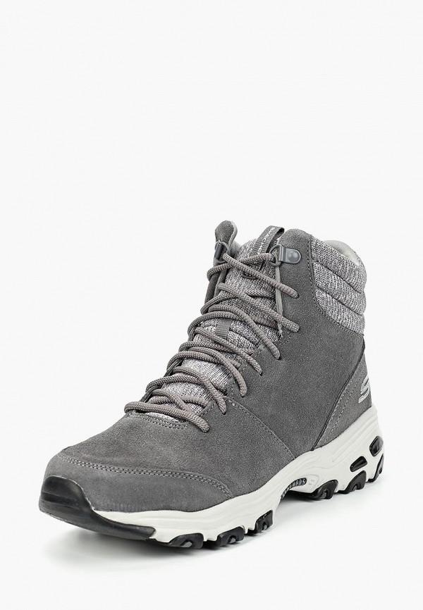 Фото 2 - женские ботинки и полуботинки Skechers серого цвета