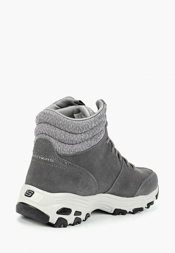 Фото 3 - женские ботинки и полуботинки Skechers серого цвета