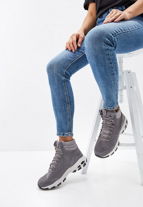 Фото 6 - женские ботинки и полуботинки Skechers серого цвета