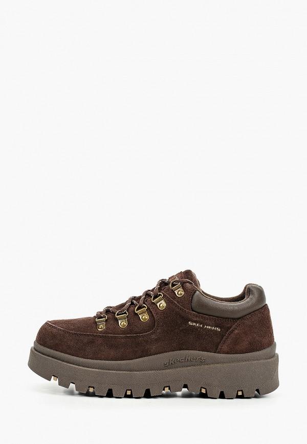 женские низкие ботинки skechers, коричневые