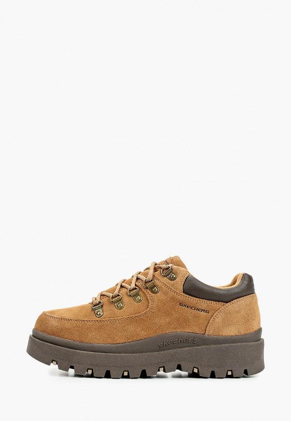 женские низкие ботинки skechers, бежевые