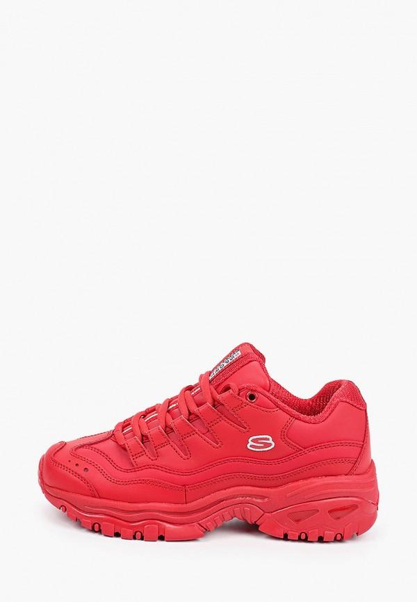 женские низкие кроссовки skechers, красные
