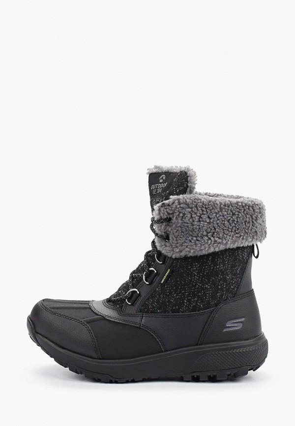 женские ботинки skechers, черные