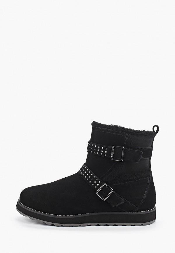 женские высокие ботинки skechers, черные