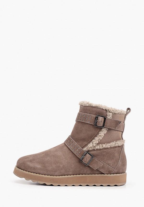 женские высокие ботинки skechers, бежевые