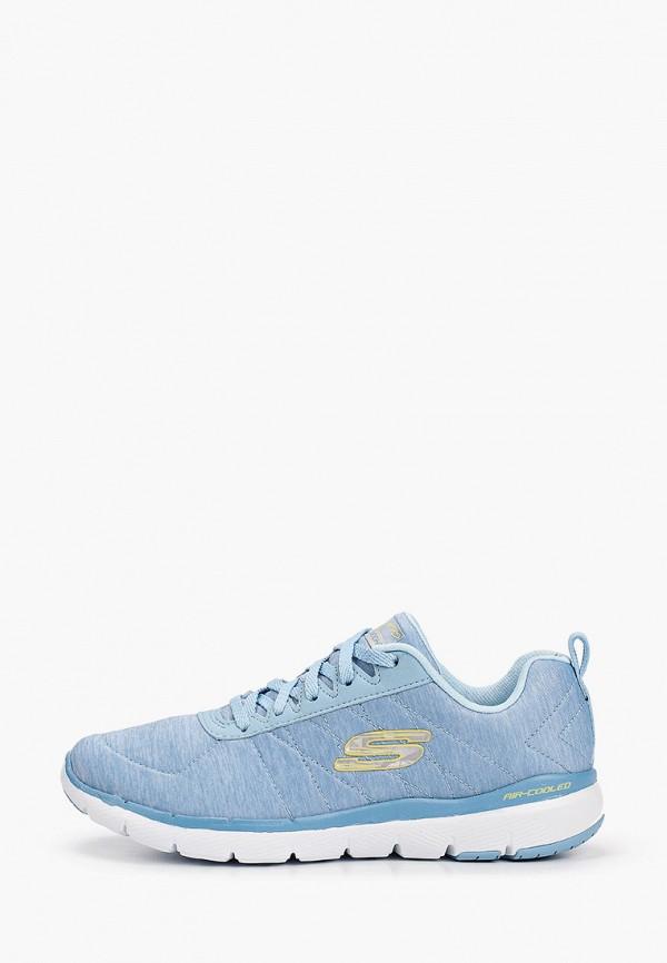 женские низкие кроссовки skechers, голубые