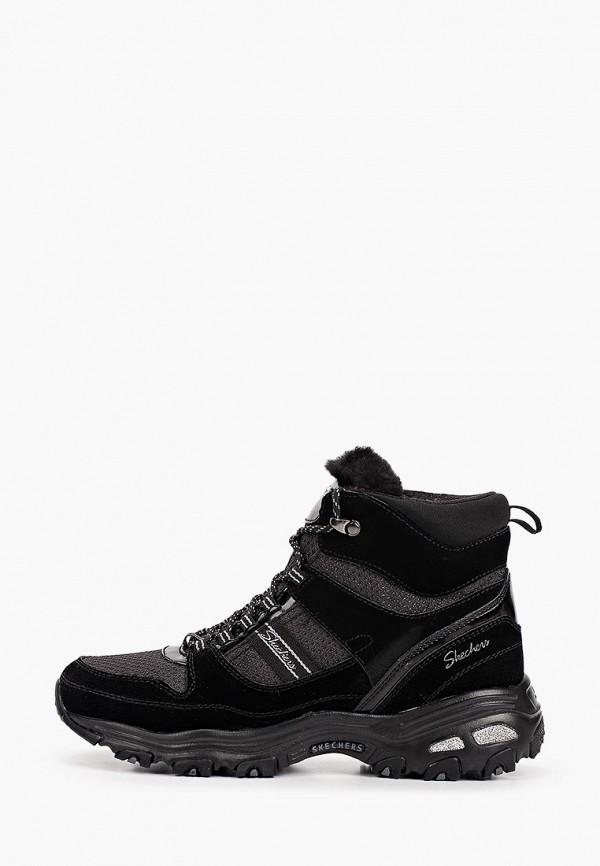 женские высокие кроссовки skechers, черные