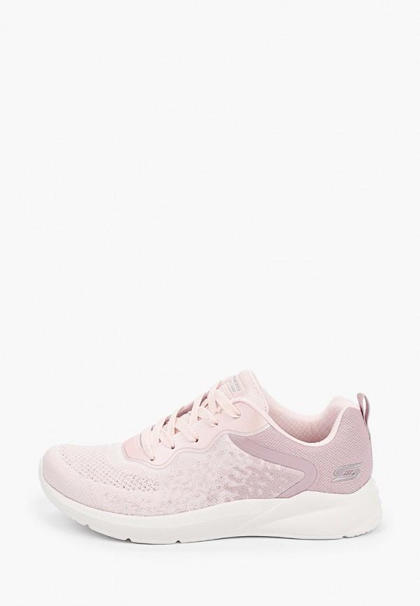 женские низкие кроссовки skechers, розовые