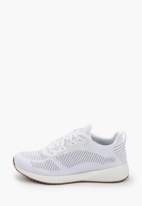 женские низкие кроссовки skechers, белые