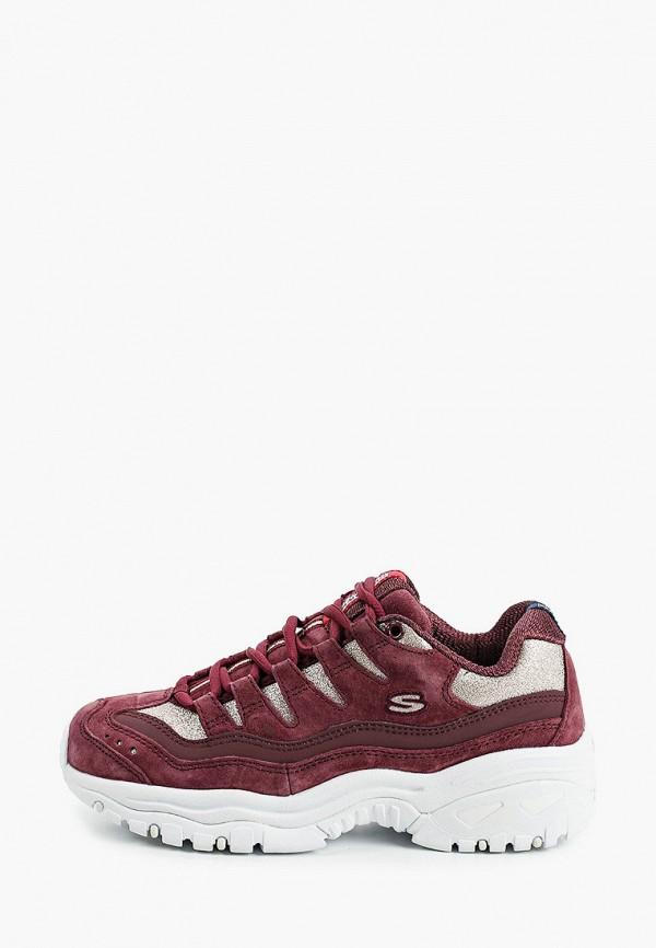 женские кроссовки skechers, бордовые