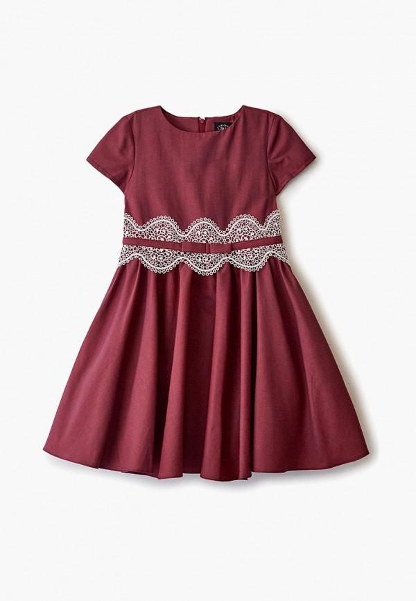 повседневные платье sly для девочки, бордовое