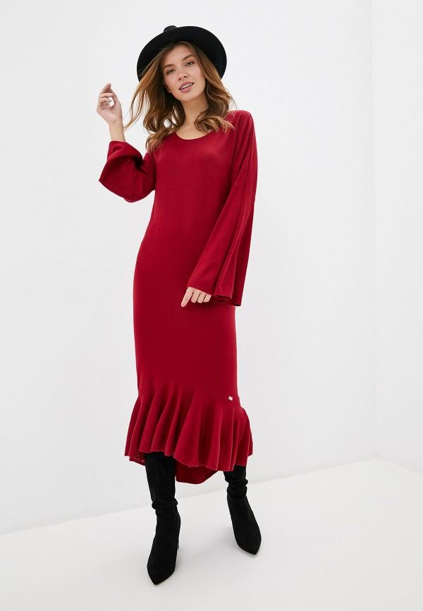 женское повседневные платье smf, бордовое