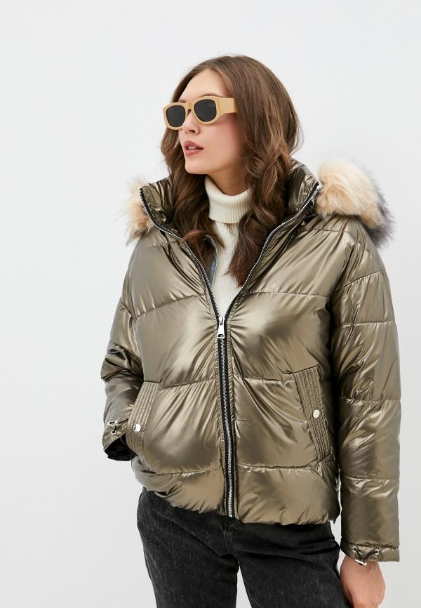 женская утепленные куртка softy, золотая