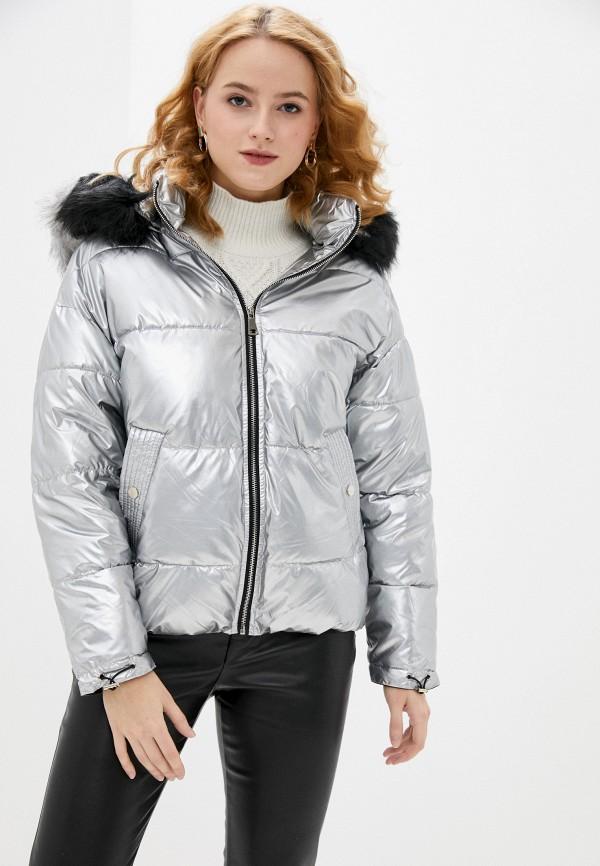 женская утепленные куртка softy, серебряная