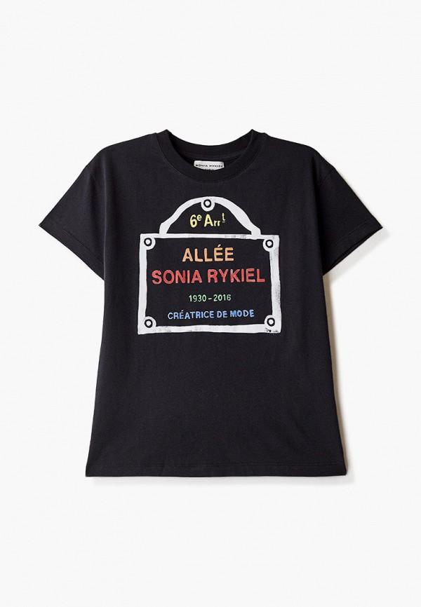 футболка с коротким рукавом sonia rykiel для девочки, черная