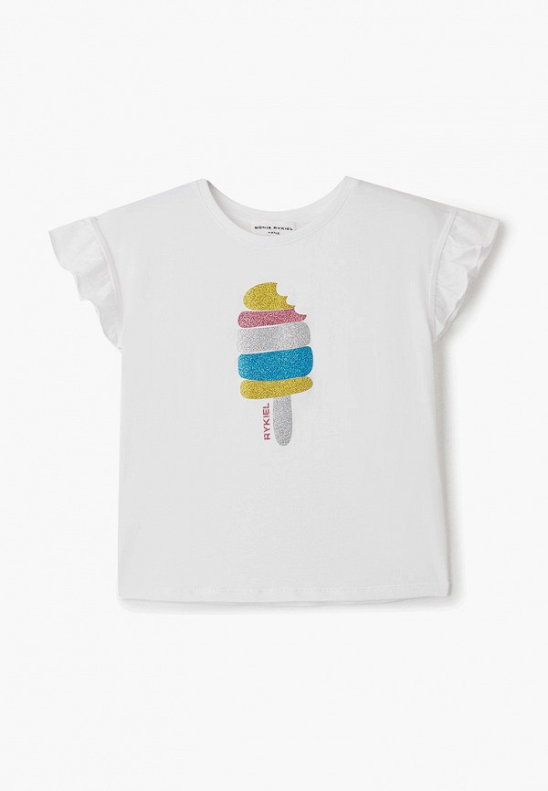 футболка с коротким рукавом sonia rykiel для девочки, белая