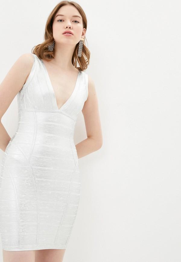 женское платье-футляр soky & soka, серебряное