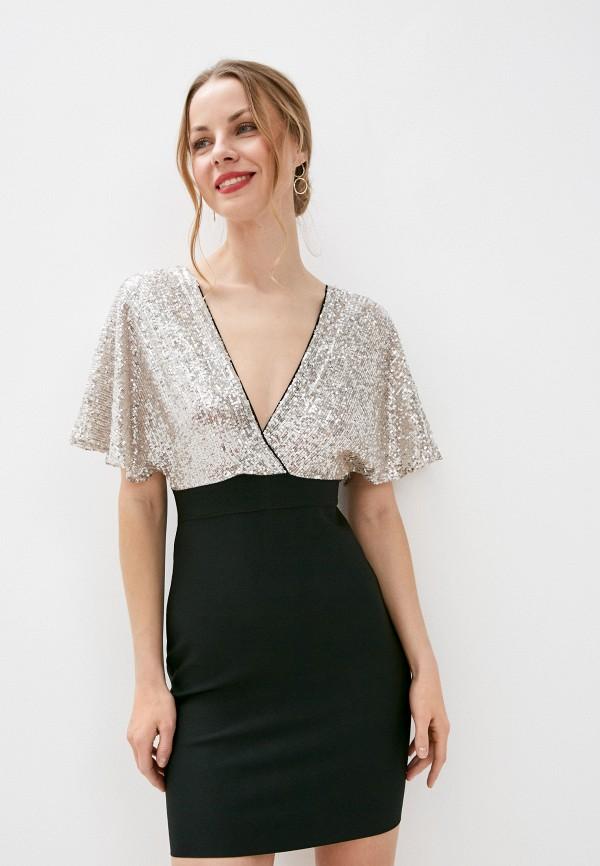 женское вечерние платье soky & soka, серебряное