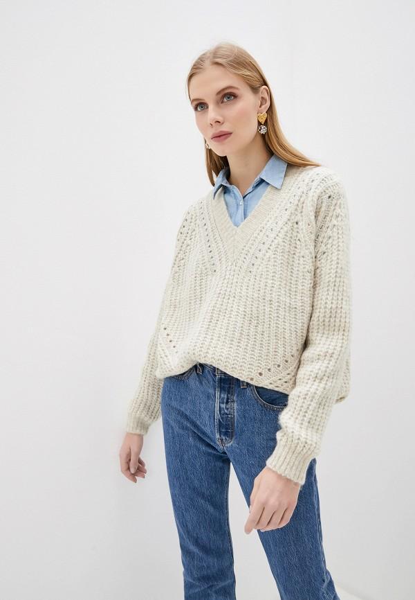 женский пуловер soaked in luxury, бежевый