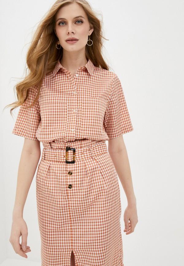 женская рубашка с коротким рукавом soaked in luxury, оранжевая