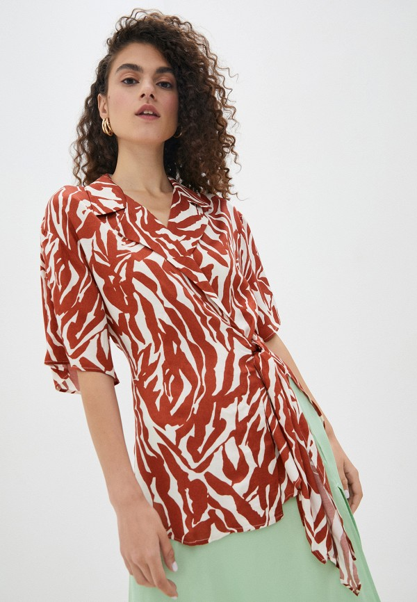 женская блузка soaked in luxury, коричневая