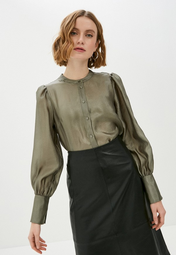 женская блузка soaked in luxury, хаки